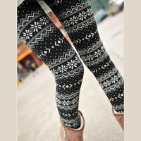 Women NEW Christmas Snow Snowflake Pattern Legging Tight Pant White Black