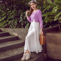 White and Purple Long Sleeve Layered Maxi Dress