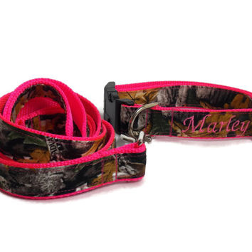 Real Camo Neon Pink Pet Bundle with Collar and Leash