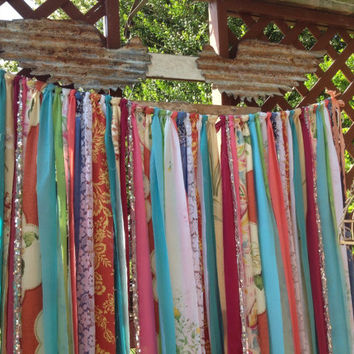 Hippie Curtains ready to ship 4ft x 7ft long Boho Curtain Gypsy Curtain Rustic Rag Fabric Ribbon Garland Teen Room-Dorm-Hippy-Glamping
