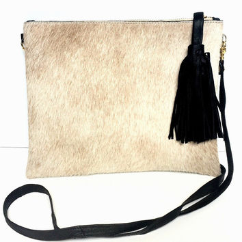 Brio Light Brown Tassel Crossbody Handbag