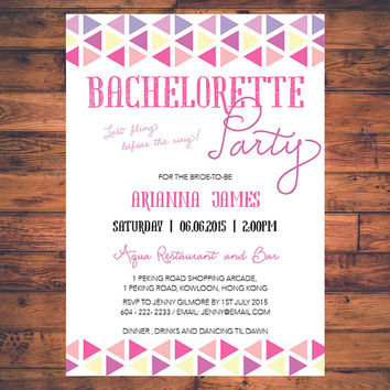 Last Fling Before The Ring Geometric Pastel Bachelorette Party Hen Party Bride To Be Invitation Invite Digital Print Printable Card