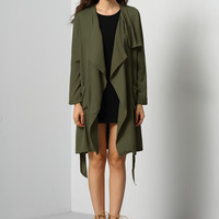 Green Long Sleeve Pockets Trench Coat | MakeMeChic.COM