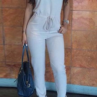 White Sleeveless Cut Out Drawstring Jumpsuit