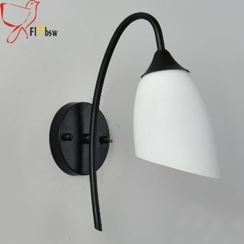 Modern LED indoor Wall Lamp For Bathroom Bedroom bedside lamp fixture,white Frosted glass lampshade reading Sconce wall lights