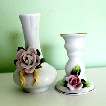 Set of 2 Vintage White Porcelain Vase and Candle Holder, Candlestick, Baby Shower, Decor