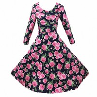 MapleClan Vintage Floral Rose Three-Quarter A-line Swing Dress