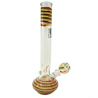 "Glass Stone 14"" Rasta Swirl Wrapped Beaker"