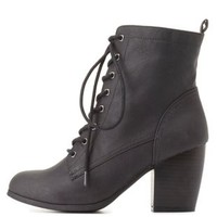 Qupid Lace-Up Chunky Heel Booties by Charlotte Russe - Black