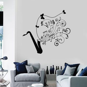Wall Decal Saxophone Jazz Music Art Musical Instrument Vinyl Stickers Unique Gift (ig2881)