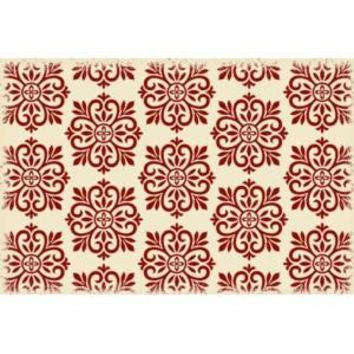 Modern European Design  Size Rug: 2ft x 3ft red & white