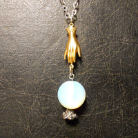 Gold Hand Fortune Teller Opalite Crystal Ball with Gypsy Hand Necklace
