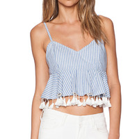 RISE OF DAWN Pretty Gingham Crop Top in B;ue