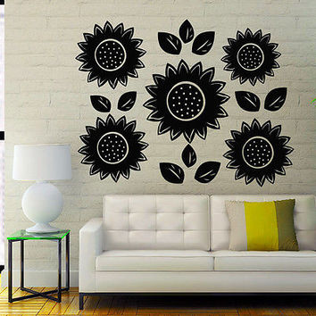 Wall Decals Sunflower Decal Flower Vinyl Sticker Bedroom Home Decor Art MR328