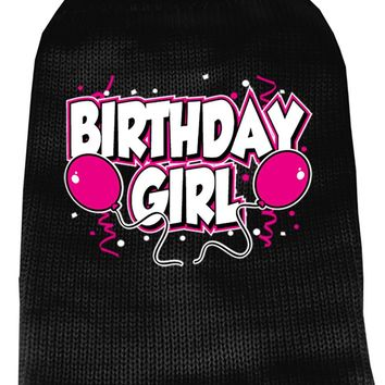 Birthday Girl Screen Print Knit Pet Sweater Md Black Medium
