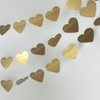 Gold Wedding Garland - Gold Heart Garland - Gold Bridal Shower Decor