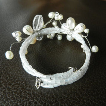 White Bridal Cuff- Swarovski Crystal Wire Wrapped Bracelet Pearl Beaded Bridesmaid Gift Flower Butterfly Wedding Jewelry