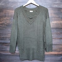 lace-up knit sweater in olive green