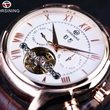 Forsining GMT883 Royal Classic Rose Gold Case Brown Leather Strap Mens Automatic Luxury Watch