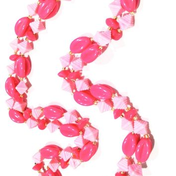 Plastic Vintage Jewelry Flapper Long Pink Beaded Necklace