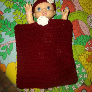 Burgundy Maroon Crochet Baby Girl Cocoon Photo Prop With Matching Headband with Coral Rose Resin Flower