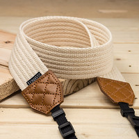 Camera Strap - Rattanware Pattern for DSLR and Mirrorless Camera (White)