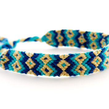 Turquoise Handwoven Thin Micro Macrame Blue Friendship Bracelet - Great gift for Best Friends and Teenagers
