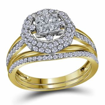 14kt Yellow Gold Women's Princess Diamond Halo Bridal Wedding Engagement Ring Band Set 1.00 Cttw - FREE Shipping (US/CAN)