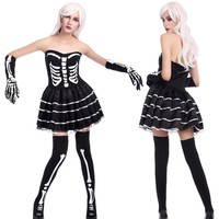 Adult Women Halloween Scary Skeleton Costume Party Tube Dress Joker Game Black Outfit Socks Sexy Horror Death Outfit For Girl XL