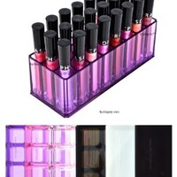 Acrylic Lip Gloss Organizer & Beauty Care Holder Provides 24 Space Storage | byAlegory (Purple Clear)