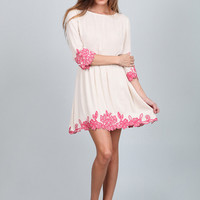 Remember This Moment Dress- Off White/Pink
