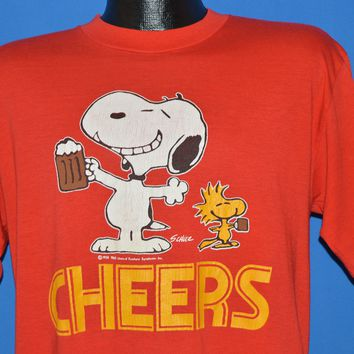 80s Cheers Snoopy And Woodstock Peanuts t-shirt Large