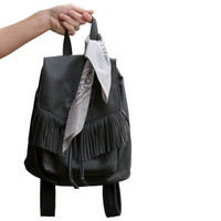 Black Suede Fringe and Leather Sonar Backpack