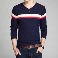 Winter Men Knit Sweater Slim V-neck Stylish T-shirts Bottoming Shirt