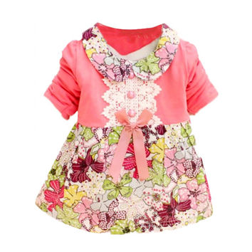 One Piece Toddler Infant Clothes Baby Girls Kids Short Sleeve Print Floral Princess Bowknot Dress  0-2Y