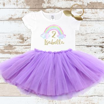 Custom Rainbow 2nd Birthday Shirt Purple Tutu