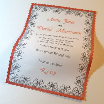 Coral henna flower wedding invitation on cloth fabric romantic modern Indian mehndi