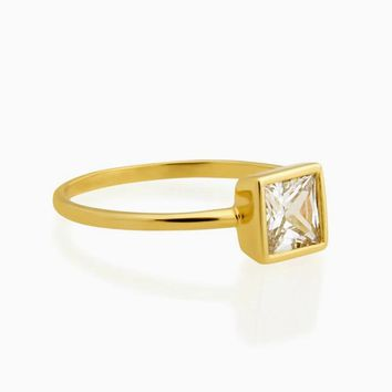 Square Clear Diamond Ring