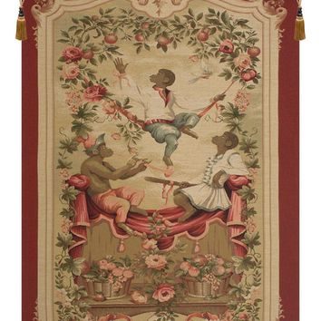 Monkey's Paradise II In Red European Tapestry