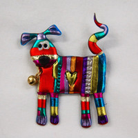 Colored Dog pin with red bell striped red blue fuchsia copper kitty friendly plastic jewelry brooch fun whimsical