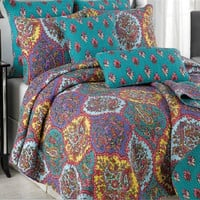 Tache 3 Piece Floral Paisley Galore Bedspread Set, Queen