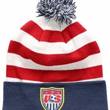 U.S. Soccer Football Official Merchandise Men's USA Ski Hat Peruvian Pompom Beanie One Size White/Red/Blue