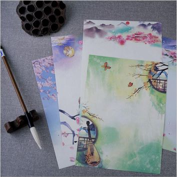 8 Pages/Set Vintage poetry illustration Season Plants Flowers Painting Letter Paper Writing Paper Love Letter Stationery