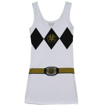Power Rangers I Am White Ranger Costume Sexy Tunic Tank Dress
