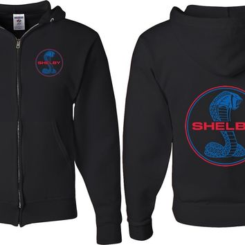 Ford Mustang Full Zip Hoodie Shelby Blue and Red Logo Front and Back
