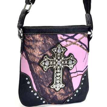 Mossy Oak Camouflage Studded Messenger Bag With Rhinestone Cross - 58806