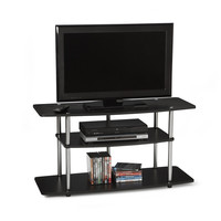 3-Tier Flat Screen TVstand in Black Wood Grain / Stainless Steel