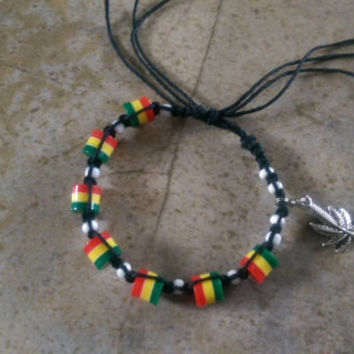 Black Hemp Bracelet, Rasta, Marijuana Leaf Charm, Everyday Jewelry, Gift for Her, Festival Jewelry, Summer, Free USA Shipping