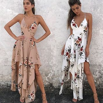 DCCKUN3 Bohemia Fashion Spaghetti Strap Prom Dress One Piece Dress