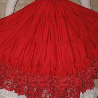 DDNJ Renaissance Red Cotton Lace Multi Tier Skirt Hoop Petticoat Crinoline Civil War Pirate Gypsy Wedding  Anime Quincetta